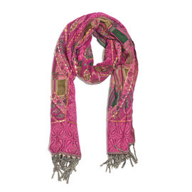 Hand Embroidered Adda Work from India - Fuchsia, Green and Multi Colour Floral Pattern Hand Embroidered Scarf with Tassels (Size 200X67 Cm)