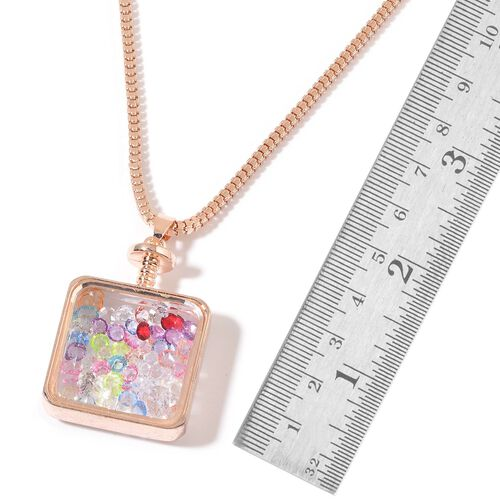 Simulated White Diamond and Multi Colour Crystal Pendant With Chain in Rose Gold Tone