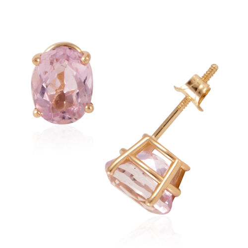 NEW YORK CLOSE OUT DEAL - 14K Y Gold Brazilian Kunzite (Ovl) Earrings (with Push Back) 3.500 Ct.