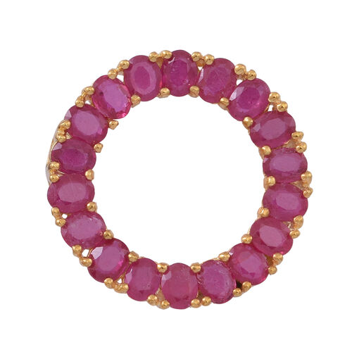 African Ruby (Ovl) Circle of Life Pendant in 14K Gold Overlay Sterling Silver 8.000 Ct.