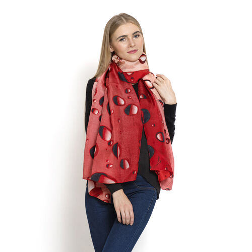 LucyQ 100% Mulberry Silk Digital Print Bubble Pattern Coral Colour Scarf (Size 170x100 Cm) 40 Grms