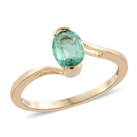 One Time Deal-9K Y Gold AA Boyaca Colombian Emerald (Ovl) Solitaire Ring 1.000 Ct.
