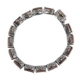 Natural Silver Sapphire (Cush) Bracelet in Rhodium Plated Sterling Silver (Size 7.5) 105.000 Ct.