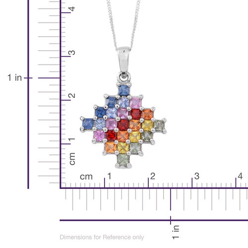 AAA Rainbow Sapphire (Princess) Pendant with Chain in Rhodium Plated Sterling Silver 3.250 Ct.