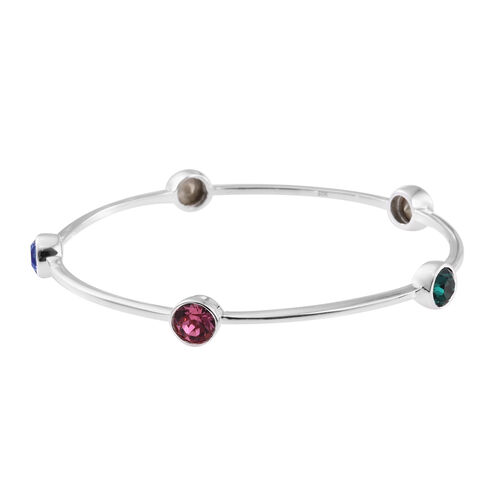 J Francis Crystal from Swarovski - Ruby Colour Crystal (Rnd), Emerald, Sapphire, Topaz and Rose Colour Crystal Bangle (Size 7.25) in Sterling Silver. Silver Wt 10.02 Gms
