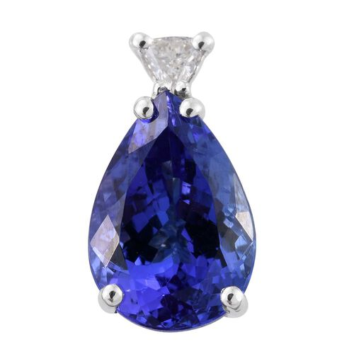 ILIANA 18K White Gold AAA Tanzanite (Pear 2.25 Ct), Diamond (SI/G-H) Pendant 2.310 Ct.