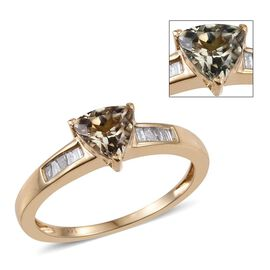 14K Y Gold AAA Natural Turkizite (Trl 0.85 Ct), Diamond Ring 1.000 Ct.