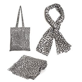 100% Cotton Black and White Colour Leaves Printed Towel (Size 160x90 Cm), Pareo (Size 160x50 Cm) and Bag (Size 35x33 Cm)