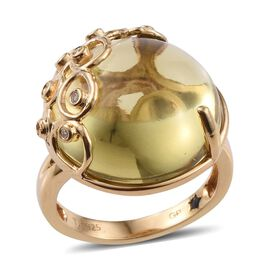 GP Brazilian Green Gold Quartz (Rnd 26.00 Ct), Natural Cambodian Zircon and Kanchanaburi Blue Sapphire Ring in 14K Gold Overlay Sterling Silver 26.100 Ct.