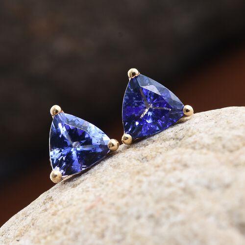 ILIANA 18K Yellow Gold 1.25 Carat AAA Tanzanite (Trl) Stud Earrings (with Screw Back)