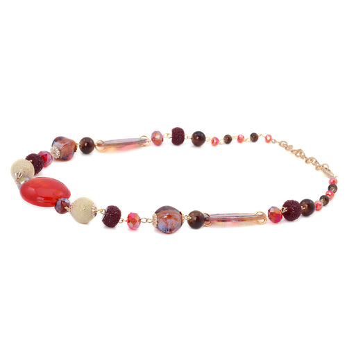 Murano Design and Multi Colour Glass Necklace (Size 20 with 2 Inch Extender) and Earrings in Gold Tone