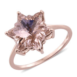 J Francis Crystal From Swarovski - Vintage Rose Crystal (Stellaris Cut) Ring in Rose Gold Overlay Sterling Silver