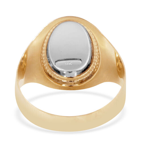 Royal Bali Collection 9K Yellow Gold Diamond Cut Signet Ring