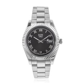 EON 1962 Swiss Movement Sapphire Glass 3ATM Water Resistant Watch in Silver Tone with Stainless Steel