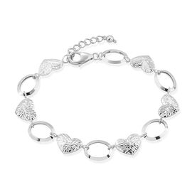 Surabaya Gold Collection - 9K White Gold Heart and Circle Link Bracelet (Size 7 with 1 inch Extender), Gold wt 4.19 Gms.