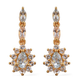 Espirito Santo Aquamarine (Pear), White Topaz Earrings (with Push Back) in 14K Gold Overlay Sterling Silver 2.250 Ct.