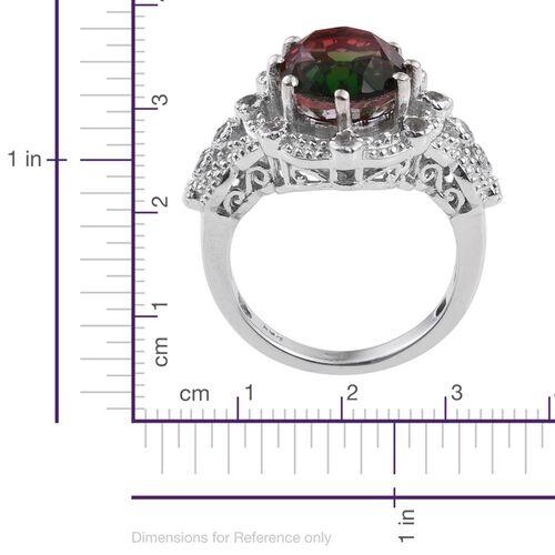 Bi-Color Tourmaline Quartz (Ovl 5.60 Ct), White Topaz Ring in Platinum Overlay Sterling Silver 5.750 Ct.