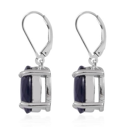 AA Kanchanaburi Blue Sapphire (Ovl) Lever Back Earrings in Rhodium Plated Sterling Silver 3.500 Ct.