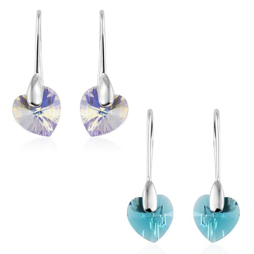 Set of 2 - J Francis Crystal From Swarovski - Aurore Boreale Crystal (Hrt), Blue Zircon Crystal Hook Earrings in Sterling Silver, Silver wt 3.48 Gms.