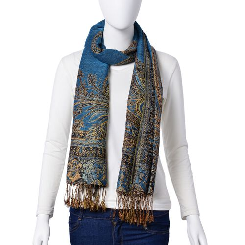 Gold and Multi Colour Fern Pattern Blue Colour Scarf with Tassels (Size 170x65 Cm)