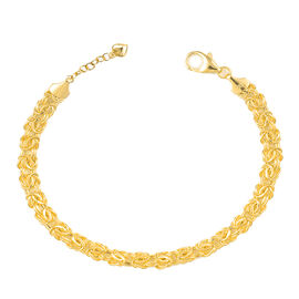 Limited Edition -JCK Vegas Collection 9K Y Gold Byzantine Bracelet (Size 7.5 with 1 inch Extender and Heart Charm), Gold wt. 4.60 Gms.