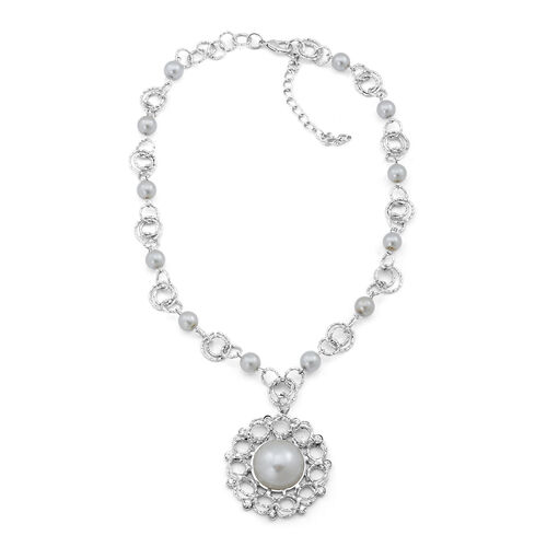 White Glass Pearl and White Austrian Crystal Necklace (Size 18) in Silver Tone with White Resin