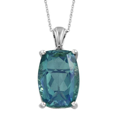 Peacock Quartz (Cush) Pendant With Chain in Platinum Overlay Sterling Silver 14.000 Ct.