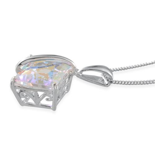 Mercury Mystic Topaz (Sqr) Solitaire Pendant With Chain in Platinum Overlay Sterling Silver 6.000 Ct.