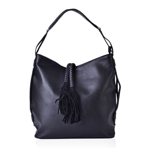 Black Colour Shoulder Bag with External Zipper Pocket and Tassels (Size 35x34x15.5 Cm)