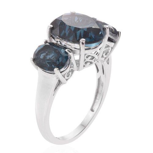 Indicolite Quartz (Ovl 5.50 Ct) 3 Stone Ring in Platinum Overlay Sterling Silver 8.500 Ct.