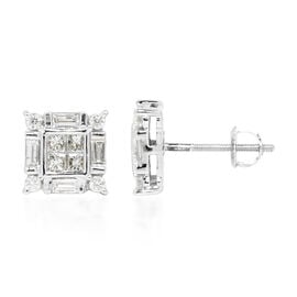 ILIANA 18K White Gold IGI Certified Diamond (Bgt) (SI/G-H) Stud Earrings (with Screw Back) 1.000 Ct.