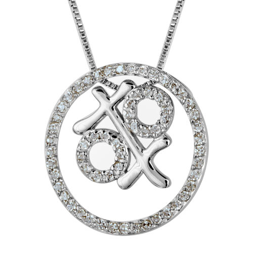 Close Out Deal Simulated Diamond (Rnd) Pendant with Chain in Sterling Silver