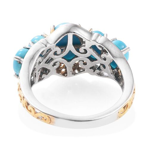 Arizona Sleeping Beauty Turquoise (Ovl 1.15 Ct) 5 Stone Ring in Platinum and Yellow Gold Overlay Sterling Silver 3.000 Ct.
