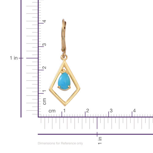 Arizona Sleeping Beauty Turquoise (Pear) Lever Back Earrings in 14K Gold Overlay Sterling Silver 1.000  Ct.