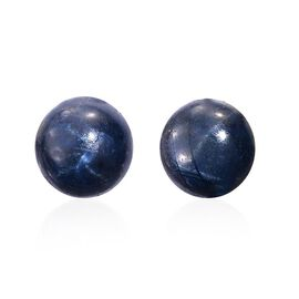Star Blue Sapphire (Rnd) Stud Earrings (with Push Back) in Platinum Overlay Sterling Silver 7.000 Ct.