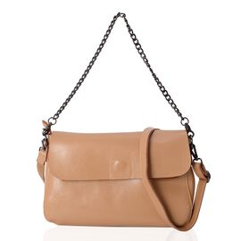 100% Genuine Leather Khaki Colour Crossbody Bag with External Zipper Pocket and Shoulder Strap (Size 30x19x9.5 Cm)