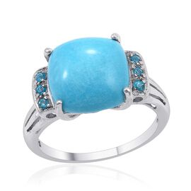 SLEEPING BEAUTY TURQUOISE (4.00 Ct),Neon Apatite Platinum Overlay Sterling Silver Ring  4.100  Ct.