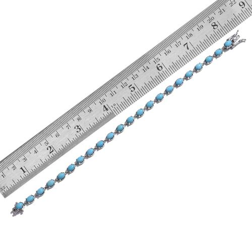 Arizona Sleeping Beauty Turquoise (Ovl) Bracelet (Size 8) in Platinum Overlay Sterling Silver 9.250 Ct.