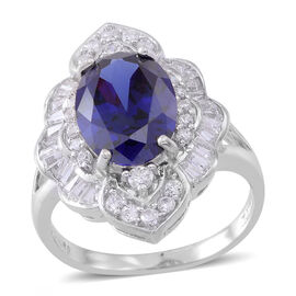 ELANZA AAA Simulated Tanzanite (Ovl), Simulated White Diamond Ring in Rhodium Plated Sterling Silver