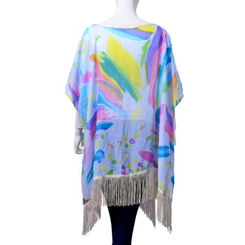 Multi Colour Printed Light Blue Colour Poncho with Tassels (Free Size)