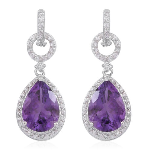 Lusaka Amethyst (Pear), White Zircon Earrings (with Hoop) in Rhodium Plated Sterling Silver 10.000 Ct.