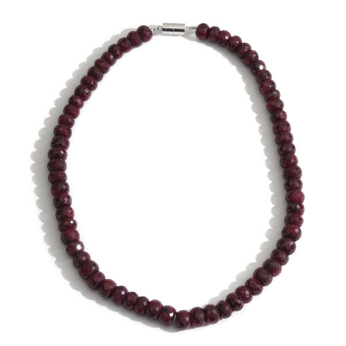 Ruby (Rnd) Beads Necklace (Size 18) with Magnetic Lock in Rhodium Plated Sterling Silver 550.000 Ct.