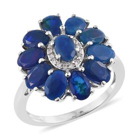 Blue Ethiopian Opal (Ovl), Natural Cambodian Zircon Floral Ring in Platinum Overlay Sterling Silver 3.500 Ct.