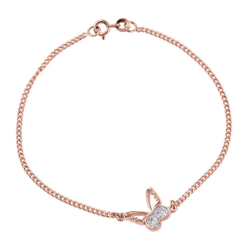 Kimberley Butterfly Collection - Natural Cambodian Zircon (Rnd) Butterfly Bracelet (Size 7.5) in Rose Gold Overlay Sterling Silver
