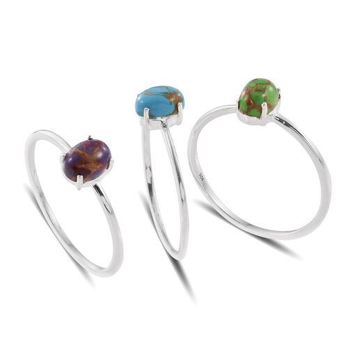 Set of 3 - Blue, Green and Purple Turquoise (Ovl) Solitaire Ring in Sterling Silver 2.250 Ct.