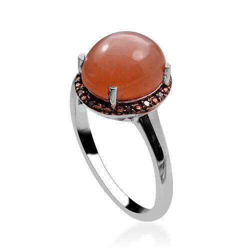 Mitiyagoda Peach Moonstone (Ovl 4.00 Ct), Brown Diamond Ring in Platinum Overlay Sterling Silver 4.050 Ct.