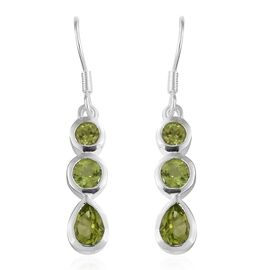 Hebei Peridot (Pear and Rnd) Hook Earrings in Sterling Silver 2.500 Ct. Silver wt 3.00 Gms.