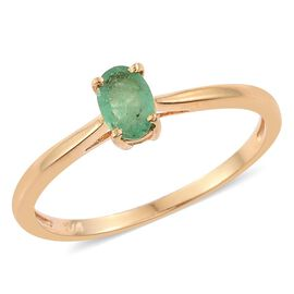 Kagem Zambian Emerald (Ovl) Solitaire Ring in 14K Gold Overlay Sterling Silver 0.500 Ct.