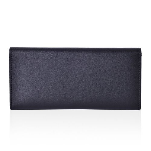Designer Inspired - Black Colour Ladies Wallet with Multiple Card Slots and Metallic Leaf at Front (Size 19X10X1 Cm)