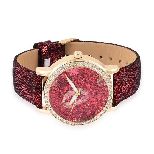 STRADA Japanese Movement Red Stardust Dial Watch with White Austrian Crystal in Yellow Gold Tone with Stainless Steel Back